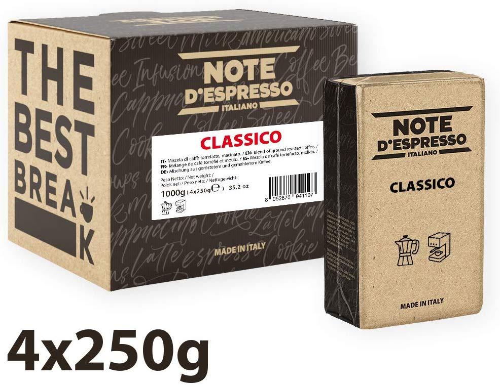 caffè note d'espresso classico 4 conf da 250gr sottovuoto
