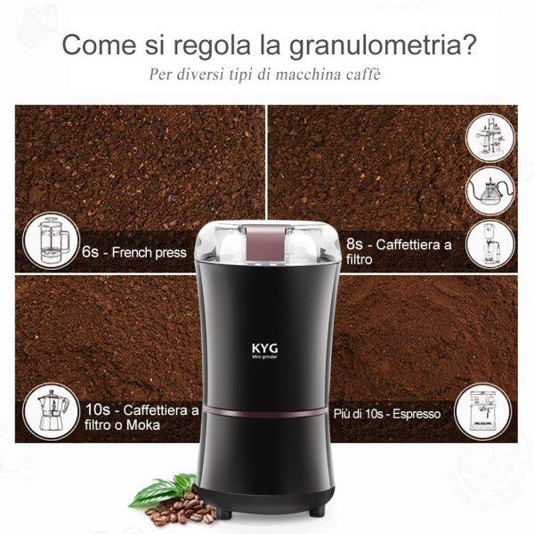 kyg macinacaffe elettrico granulometria