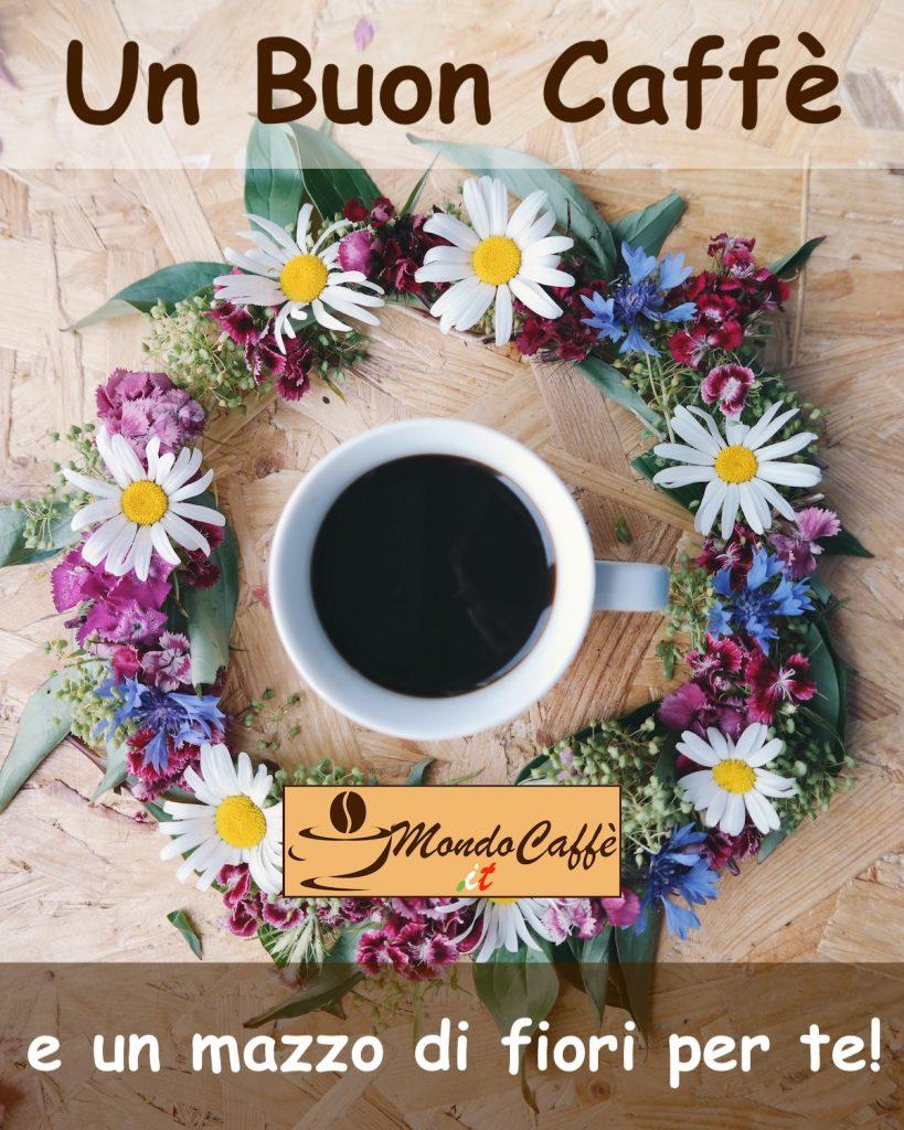 buongiorno con fiori e caffè